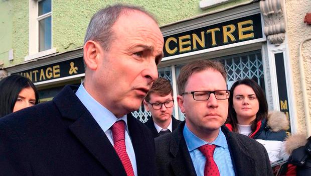 Canvassing for votes are Fianna Fail leader Micheal Martin (left) with Fianna Fail candidate James Lawless