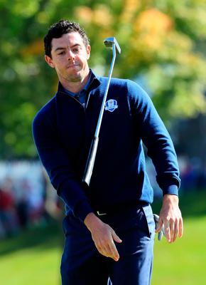 CHASKA, MN - SEPTEMBER 30:  Rory McIlroy of Europe throws his putter on the 18th green during morning foursome matches of the 2016 Ryder Cup at Hazeltine National Golf Club on September 30, 2016 in Chaska, Minnesota.  (Photo by Andrew Redington/Getty Images)