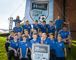 The Ballymoney FC team pictured before Tuesday's Hughes Insurance Foyle Cup parade through the city.