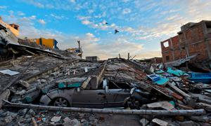 Picture showing the destruction in Manta, Ecuador, on April 17, 2016 a day after a powerful 7.8-magnitude quake hit the country. The toll from the big earthquake in Ecuador rose on Sunday to 246 dead and 2,527 people injured, the country's vice president said. / AFP PHOTO / LUIS ACOSTALUIS ACOSTA/AFP/Getty Images
