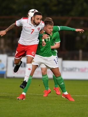 Pacemaker Press 6/09/19 Northern Ireland  v Malta U21 Euro Qualifier  N Ireland's  Caolan Boyd Munce  and Malta's Aidan Friggieri  during this evening's game at the Ballymena Showgrounds.  Pic Colm Lenaghan/Pacemaker