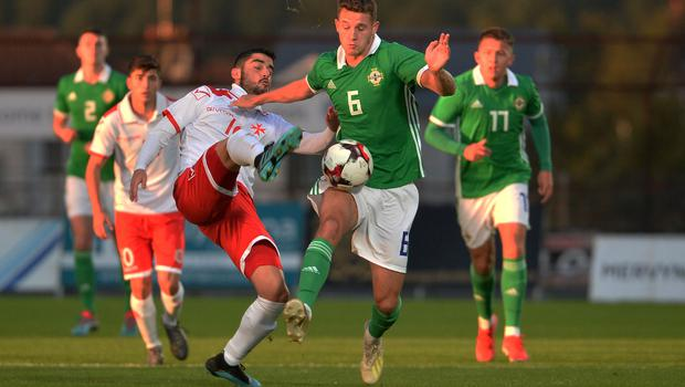 Pacemaker Press 6/09/19 Northern Ireland  v Malta U21 Euro Qualifier  N Ireland's Jake Dunwoody    and Malta's Michele Sansone   during this evening's game at the Ballymena Showgrounds.  Pic Colm Lenaghan/Pacemaker