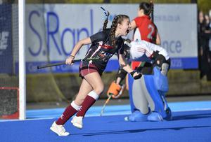 04/03/2020 Belfast Telegraph Senior Cup final schools hockey between  Friends of Lisburn  and Belfast Royal Academy at Lisnagarvey. BRAÕs Abbie Braniff  celebrates after she scores to put her side 4-1  Mandatory Credit © Stephen Hamilton