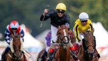 On song: Andrea Atzeni celebrates after Stradivarius triumphs in yesterday's feature, the Qatar Goodwood Cup. Photo: Alan Crowhurst/Getty Images