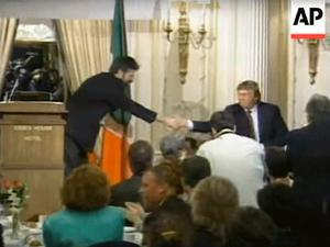 Warm welcome: Gerry Adams meeting Donald Trump in 1995