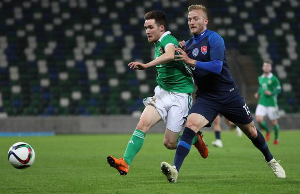 Pacemaker Belfast 16-10-18 Northern Ireland v Slovakia - UEFA Euro U21 Qualifier Northern Ireland's Paul Smyth and Slovakia's Michal Siplak during this evenings game at the National Stadium, Belfast.  Photo by David Maginnis/Pacemaker Press