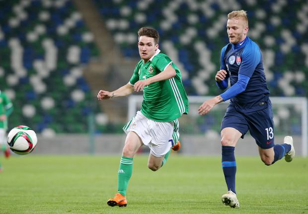 Press Eye - Belfast - Northern Ireland - 16th October 2018  European U21 Championship 2019 Qualifying Round at the National Stadium art Windsor Park.  Northern Ireland Vs Slovakia.   Northern Ireland's Paul Smyth with Slovakia's Michal Siprak.  Picture by Jonathan Porter/PressEye
