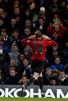 West Bromwich Albion's Irish midfielder James McClean celebrates after scoring their second goal during the English Premier League football match between Chelsea and West Bromwich Albion at Stamford Bridge in London on January 13, 2016. AFP PHOTO / IAN KINGTON  RESTRICTED TO EDITORIAL USE. NO USE WITH UNAUTHORIZED AUDIO, VIDEO, DATA, FIXTURE LISTS, CLUB/LEAGUE LOGOS OR 'LIVE' SERVICES. ONLINE IN-MATCH USE LIMITED TO 75 IMAGES, NO VIDEO EMULATION. NO USE IN BETTING, GAMES OR SINGLE CLUB/LEAGUE/PLAYER PUBLICATIONS.IAN KINGTON/AFP/Getty Images