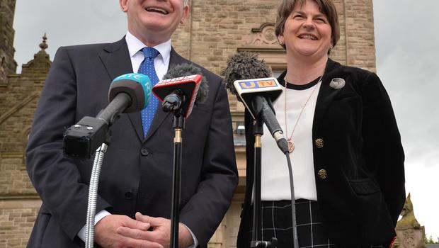 Pacemaker Press 19/5/2016 First Minister Arlene Foster and  and Deputy First Minister Martin McGuinness speak to the media at Storming Castle on Thursday.  The various parties have been meeting at Stormont Castle in a series of talks that could decide the fate of the next Northern Ireland Executive. Pic Colm Lenaghan/Pacemaker