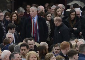 PACEMAKER BELFAST   24/03/2016 Francis Crawford ( who raised the alarm) during The funeral of five pier victims takes place at Holy Family Church, Ballymagroarty on Thursday. The victims were Ruth Daniels, her 14-year-old daughter Jodie Lee Daniels, her son-in-law Sean McGrotty, and his sons Mark, 12, and Evan, eight.  The only survivor was Mr McGrotty's four-month old daughter, Rionaghac-Ann. They died after their car slid off a pier in Buncrana County Donegal. Photo Colm Lenaghan/Pacemaker Press