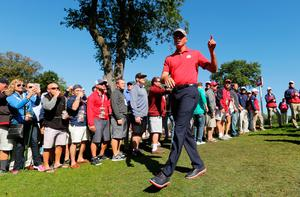 CHASKA, MN - SEPTEMBER 30: Matt Kuchar of the United States walks off the green after winning his round during morning foursome matches of the 2016 Ryder Cup at Hazeltine National Golf Club on September 30, 2016 in Chaska, Minnesota.  (Photo by Streeter Lecka/Getty Images)