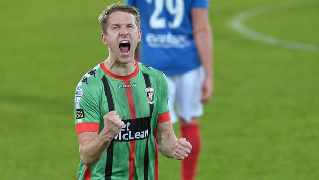 PACEMAKER BELFAST  09/05/2018 Linfield v Glentoran  Europa league play off semi final GlentoranÕs Jonathan Addis    celebrates after this evenings game at Windsor park. Photo Colm Lenaghan/Pacemaker Press