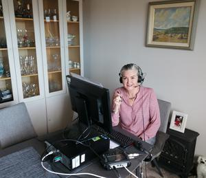 Linda McAuley in her workstation at home