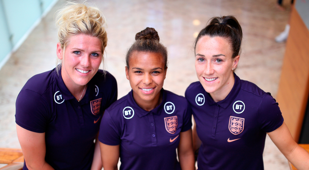 On mission: England aces Millie Bright, Nikita Parris and Lucy Bronze have their sights set on reaching the World Cup final