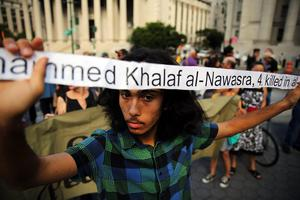 Demonstrators in lower Manhattan protest against Israel's recent military campaign in Gaza on July 24, 2014 in New York City.  (Photo by Spencer Platt/Getty Images)