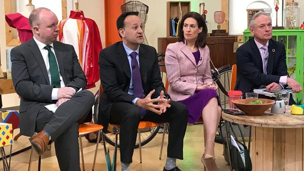 From left to right, TD Noel Rock, Taoiseach Leo Varadkar, TD Hildegarde Naughton and Environment Minister Richard Bruton, at the launch of Fine Gael's climate action plan in Ballymun, Dublin (Aine McMahon/PA)