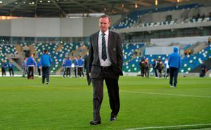 BELFAST, NORTHERN IRELAND - OCTOBER 8:  Northern Ireland manager Michael O'Neill inspects the pitch before this evening's Euro 2016 Group F international football match at Windsor Park on October 8, 2015 in Belfast, Northern Ireland.  (Photo by Charles McQuillan/Getty Images)