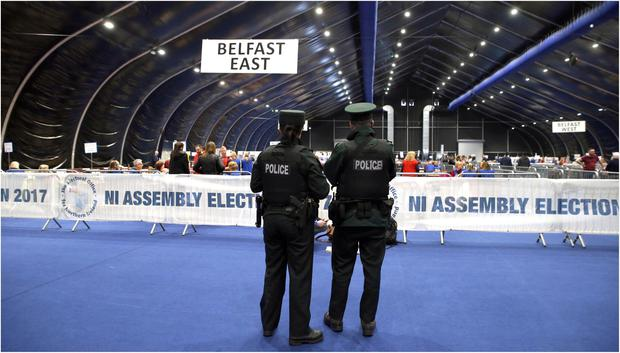 Counting gets underway at the Titanic Exhibition centre. Results for Belfast East, North, South and West are expected in by mid afternoon on Friday. Pic Pacemaker