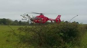 A man was airlifted to hospital.
