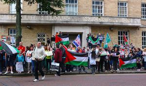 Palestine Protest outside BBC Studios in Belfast. Credit: Kevin Scott