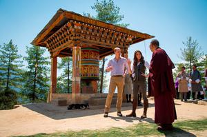 The Duke and Duchess of Cambridge speak with a monk near a prayer wheel during a trek to the Tiger's Nest Monastery, near Paro, Bhutan, during day six of the Royal tour to India and Bhutan. PRESS ASSOCIATION Photo. Picture date: Friday April 15, 2016. See PA story ROYAL Bhutan. Photo credit should read: Dominic Lipinski/PA Wire