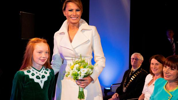 IRELAND - JUNE 05: US First Lady, Melania Trump attends a welcome function on June 5, 2019 in Ireland. President Trump will use his Trump International golf resort in nearby Doonbeg as a base for his three day stay in Ireland. The resort employs over 300 local people in the area and the village will roll out a warm welcome for the 45th President of the United States. (Photo by Pool/Getty Images)