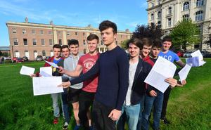 Pupils from Royal Belfast Academical Institution in belfast pictured with Principal Janet Williamson after they received their 2016 exam results. Picture By: Arthur Allison/Pacemaker Press