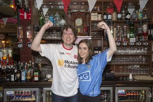 John McGirr from Sally O'Brien's bar in Omagh with journalist Sorcha O'Connor