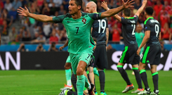 Crucial blow: Ronaldo celebrates opening the scoring for Portugal