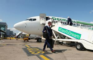 Press Eye - Belfast - Northern Ireland - 30th May 2016 -   Manager Michael OÕNeill leaves Northern Ireland from George Best Belfast City Airport to take part in a training camp in Austria in advance of the 2016 Euros.   Picture by Kelvin Boyes / Press Eye.