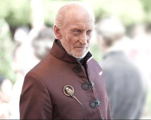 Game of Thrones Tywin wearing the Hand of the King brooch HBO