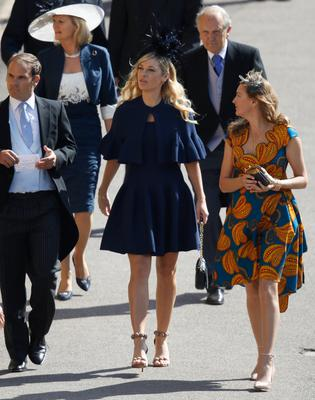 WINDSOR, UNITED KINGDOM - MAY 19:  Chelsy Davy (C) arrives for the wedding ceremony of Britain's Prince Harry and US actress Meghan Markle at St George's Chapel, Windsor Castle on May 19, 2018 in Windsor, England.  (Photo by Odd ANDERSEN - WPA Pool/Getty Images)