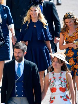 Chelsy Davy arrives with guests for the wedding ceremony of Britain's Prince Harry, Duke of Sussex and US actress Meghan Markle at St George's Chapel, Windsor Castle, in Windsor, on May 19, 2018. / AFP PHOTO / POOL / TOBY MELVILLETOBY MELVILLE/AFP/Getty Images