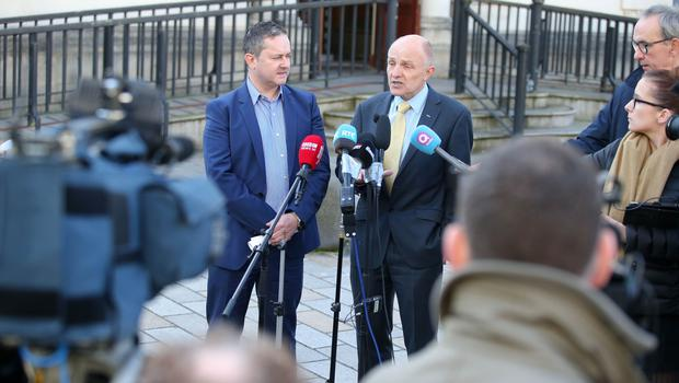 Gareth Lee(left) and Dr. Michael Wardlow, chief executive of the Northern Ireland Equality Commission pictured leaving the High Court in Belfast after the judgement was given.  Picture by Jonathan Porter/Press Eye