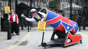 Circus performers from the Association of Circus Proprietors deliver a petition to 10 Downing Street (Gareth Fuller/PA)