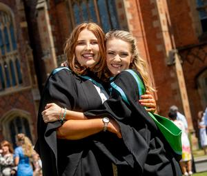 Pictured (l-r) Friends Meabh Cassidy from Warrenpoint and Olivia Murray from Newry celebrate together as they both graduate with a degree in Mathematics from Queen's University Belfast.
