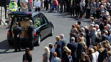 The coffin of Eimear Walsh arrives at Our Lady of Perpetual Succour in Foxrock, Dublin, for his funeral after he died when a balcony collapsed in the college town of Berkeley, California. PRESS ASSOCIATION Photo. Picture date: Tuesday June 23, 2015. See PA story FUNERAL Balcony. Photo credit should read: Brian Lawless/PA Wire