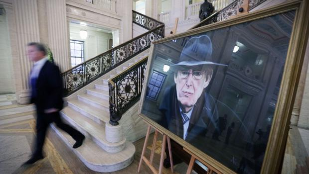 Press Eye - Belfast - Northern Ireland - 15th September 2014 - Picture by Kelvin Boyes / Press Eye.  General view of a portrait of Rev Ian Paisley in the Great Hall at Parliament Buildings, Stormont, Belfast, in memory of former DUP leader and First Minister Rev Ian Paisley.   The funeral of Ian Paisley, the former Democratic Unionist Party leader and first minister of Northern Ireland, will take place this week.