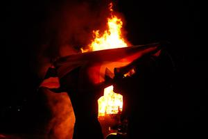 The 11th night bonfire is light at Flora Street,  east Belfast . Picture Colm O'Reilly Sunday Life 11-07-11