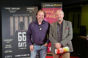 Press Eye Belfast - Northern Ireland - 31st July 2016    Colm Scullion and Peter Bryson are pictured at the film premiere of Bobby Sands: 66 Days at the Omniplex Cinema at the Kennedy Centre in west Belfast.  The premiere was hosted with Féile An Phobail and West Belfast Film Festival.  Photo by Kelvin Boyes  / Press Eye