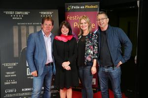 Press Eye Belfast - Northern Ireland - 31st July 2016    Brendan Byrne, Olivia Byrne, Sharon Darby and Greg Darby are pictured at the film premiere of Bobby Sands: 66 Days at the Omniplex Cinema at the Kennedy Centre in west Belfast.  The premiere was hosted with Féile An Phobail and West Belfast Film Festival.  Photo by Kelvin Boyes  / Press Eye