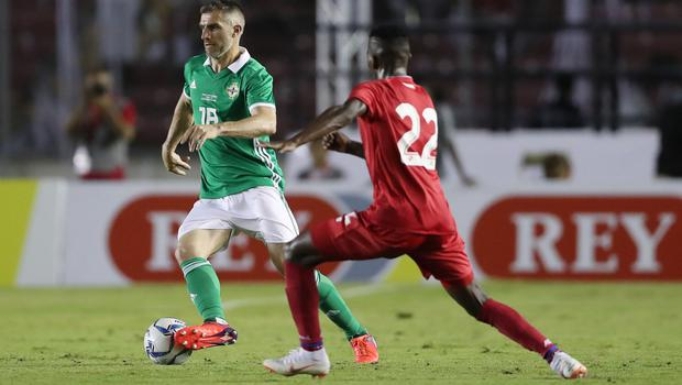 Press Eye - Belfast -  Northern Ireland - 29th May 2018 - Photo by William Cherry/Presseye  Panama's Jose Luis Rodrguez with Northern Ireland's Aaron Hughes during Wednesday nights International Friendly at the Estadio Rommel Fernandez, Panama City.