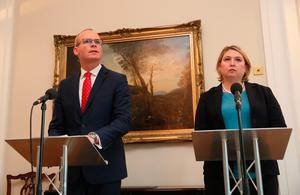 Irish Minister for Foreign Affairs Simon Coveney and Northern Ireland Secretary Karen Bradley during a press conference at Stormont in Belfast, as they make an announcement about a fresh bid to restore Stormont powersharing. Brian Lawless/PA Wire