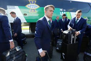 Press Eye - Belfast - Northern Ireland - 30th May 2016 -   Jamie Ward with members of the Northern Ireland football squad as they leave Northern Ireland from George Best Belfast City Airport to take part in a training camp in Austria in advance of the 2016 Euros.  Picture by Kelvin Boyes / Press Eye.