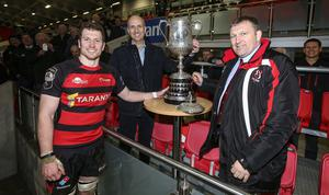 Friday 6th March 2020 | Armagh RFC vs Ballynahinch RFC  City of Armagh RFC captain Robert Whitten receives the Bank Of Ireland Ulster Senior Cup from Ian Sheppard representing the Bank Of Ireland and Ulster Branch President Gary Leslie after his side defeated Ballynahinch RFC in the Bank Of Ireland Ulster Senior Cup Final at Kingspan Stadium, Ravenhill Park, Belfast, Northern Ireland. Photo by John Dickson / DICKSONDIGITAL