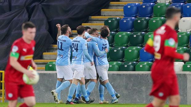 County Antrim Shield Final -  Windsor Park.  21.01.20  Cliftonville FC vs Ballymena United  BallymenaÕs celebrate after scoring to make it 0-1.   Mandatory Credit ©INPHO/Jonathan Porter