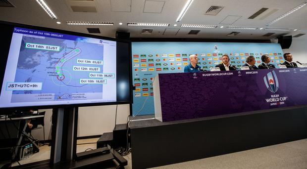 A view of the press briefing ahead of Typhoon Hagibis. Credit: INPHO/James Crombie
