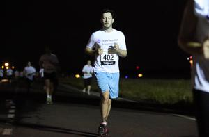 Press Eye - Belfast -  Northern Ireland - 24th June 2015 - Stephen Mills takes part in the first ever Grant Thornton Runway Run at Belfast City Airport this evening. Picture by Kelvin Boyes / Press Eye.