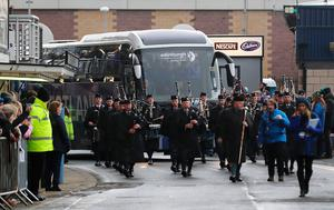 The Scotland team bus arriving before the RBS 6 Nations match at BT Murrayfield Stadium, Edinburgh. PRESS ASSOCIATION Photo. Picture date: Saturday February 4, 2017. See PA story RUGBYU Scotland. Photo credit should read: Owen Humphreys/PA Wire. RESTRICTIONS: Editorial use only, No commercial use without prior permission.