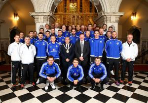 Belfast Lord Mayor Arder Carson pictured with members of the Northern Ireland football team at a civic reception in City Hall hosted by Belfast City Council to congratulate the squad on its success in reaching the finals of the European Championship. Photo by William Cherry/Press Eye
